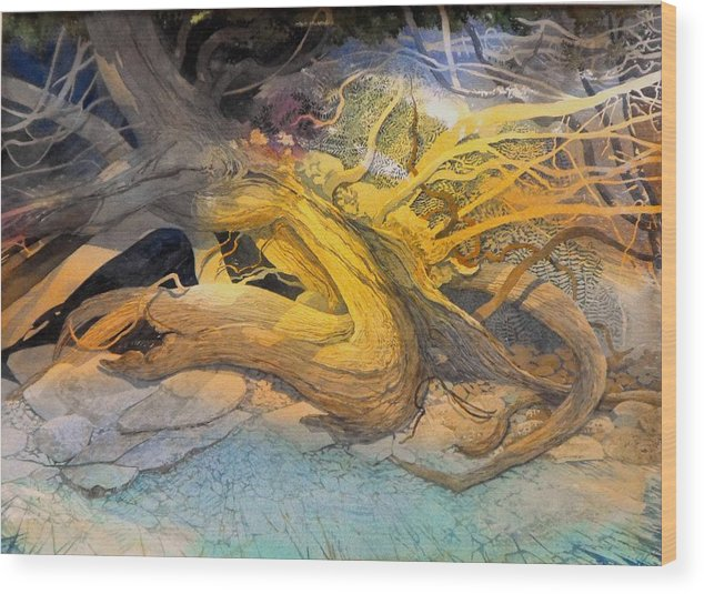 Landscape Wood Print featuring the painting A Tangled Past by Lin Souliere