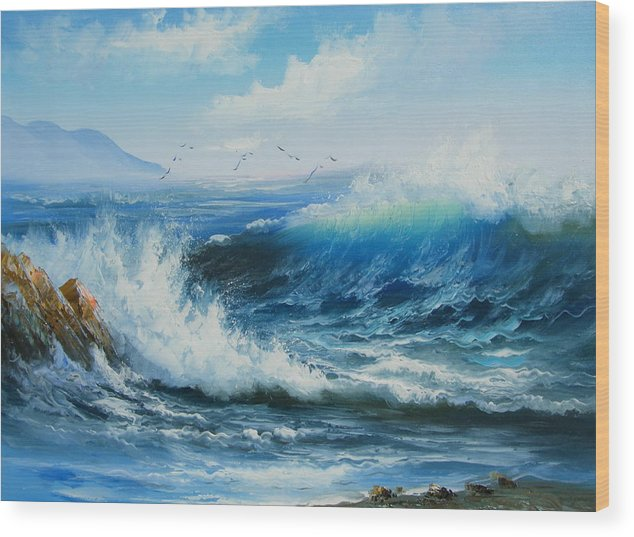 Seascape Wood Print featuring the painting Breaking Up Is Hard To Do by Imagine Art Works Studio