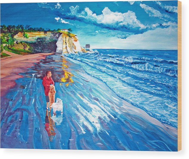 Seascape Wood Print featuring the painting Contemplation by Aymeric NOA