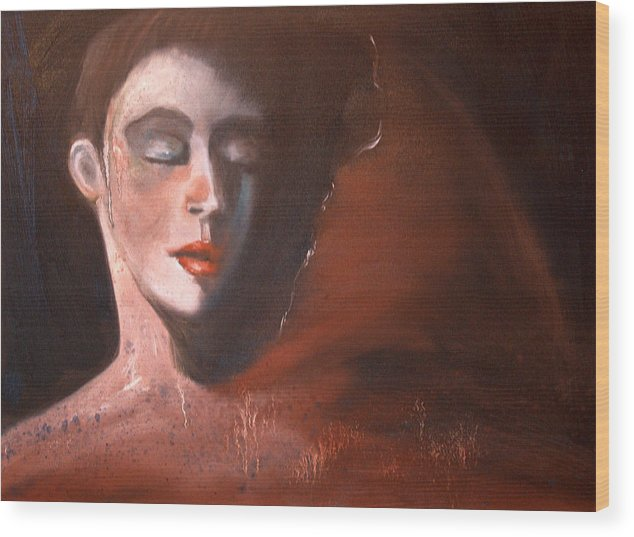 Portrait Girl Woman Red Earthtones Mystery Wood Print featuring the painting Delorous by Niki Sands