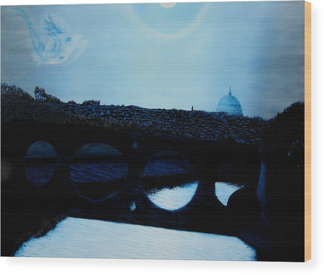 Fredrico Filini. Rome. Italy. Wood Print featuring the painting Felini S Rome by Ivan Rijhoff
