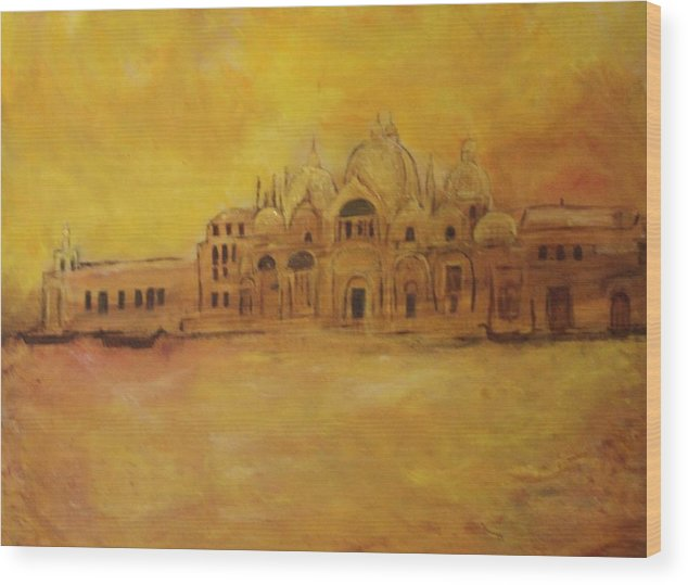 Architecture Wood Print featuring the painting Golden Venice by Michela Akers