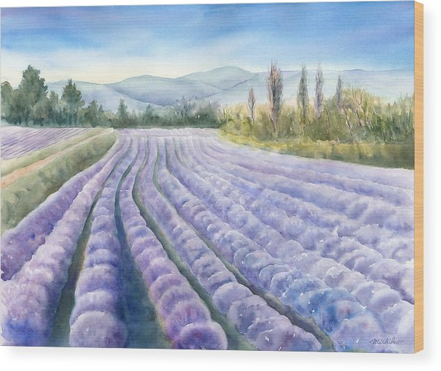Landscape Wood Print featuring the painting Lavender Field by Michiko Taylor