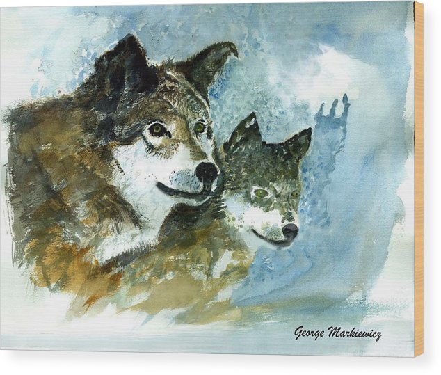 Wolves Wood Print featuring the print Leader Of The Pack by George Markiewicz