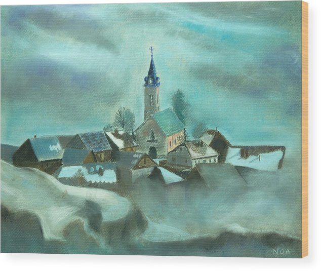 Village Wood Print featuring the pastel My Village by Aymeric NOA