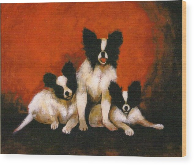 Three Dogs Wood Print featuring the painting Papillons by Christine McGinnis