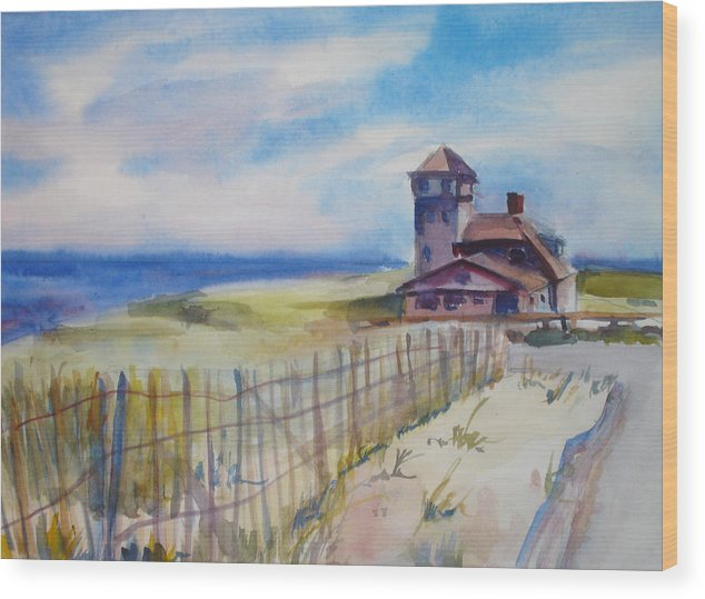 Provincetown Wood Print featuring the painting Provincetown Ocean View by Joyce Kanyuk