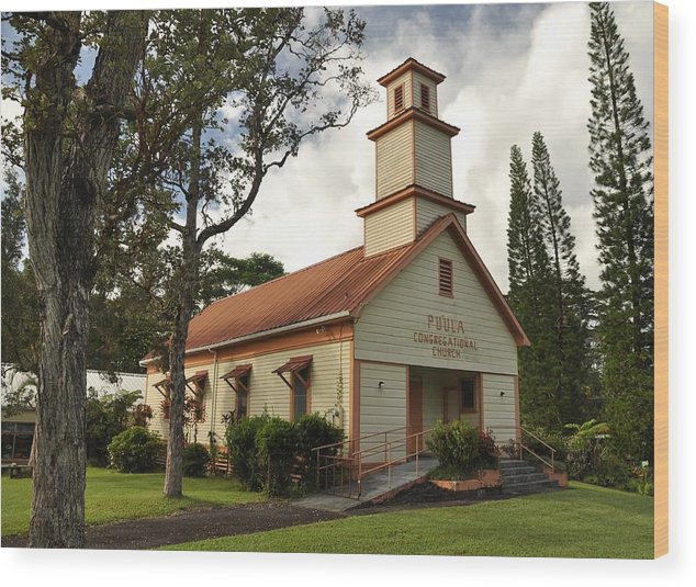 Wood Print featuring the photograph Pu'ula Congregational Church - Nanawale by Steven Rice