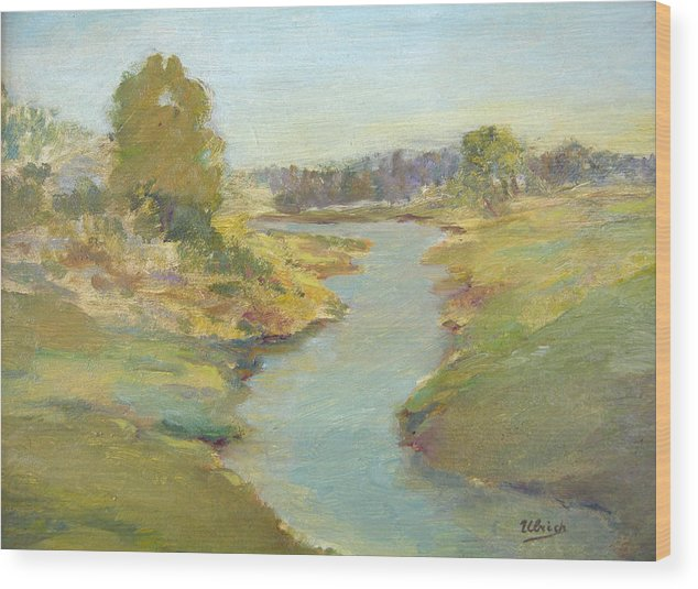 Landscape Wood Print featuring the painting Tranquil Stream by Jeannette Ulrich