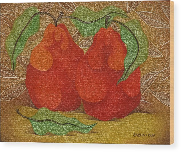 Sacha Wood Print featuring the painting Two Red Quinces 2008 by S A C H A - Circulism Technique
