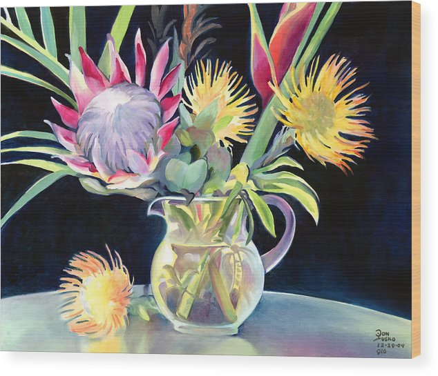 Copal Oil Wood Print featuring the painting Anna's Protea Flowers Transparent by Don Jusko