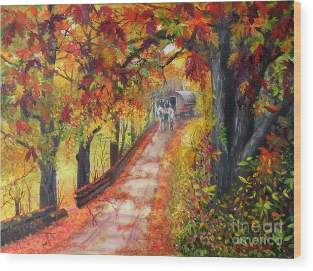 Scenery Wood Print featuring the painting Autumn Dreams by Lora Duguay