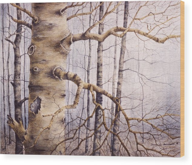Tree Wood Print featuring the painting Branching Poplar by Pederbeck Arte Gruppe