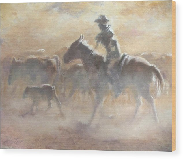 Cowboys Wood Print featuring the painting Burning Daylight by Mia DeLode