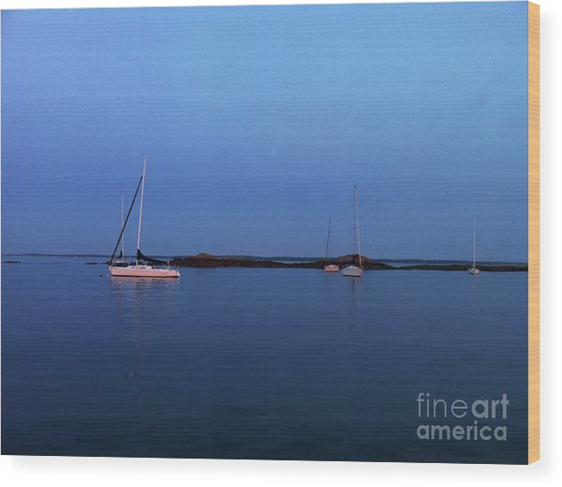 Sailboats Wood Print featuring the digital art Sailboats In The Blue by Christine Segalas