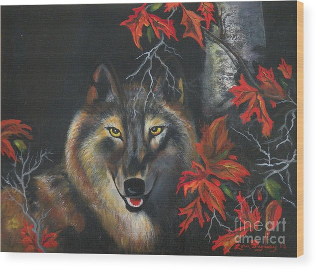 Wolf Wood Print featuring the painting Seneca by Lora Duguay