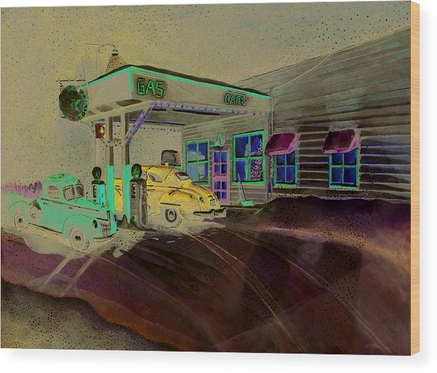 Rick Huotari Wood Print featuring the painting Times Past Gas Station by Rick Huotari
