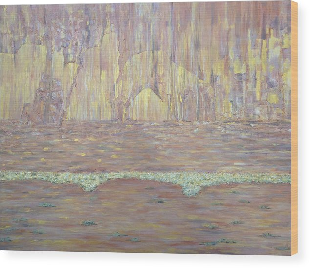 Abstract Wood Print featuring the painting Vermilion Cliffs by Illona Battaglia Aguayo