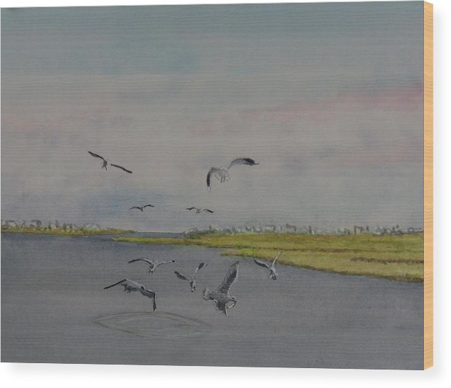 Seagulls Wood Print featuring the painting Avalon Pointe by Haldy Gifford