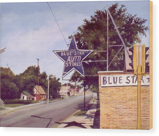 Landscape Harvey Illinois Wood Print featuring the painting Blue Star Auto by William Brody