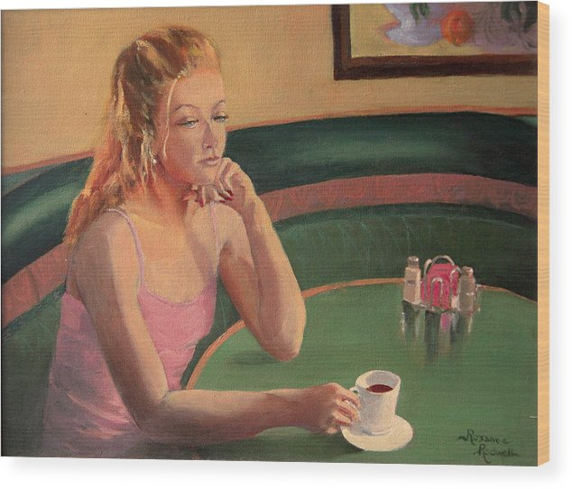 Figure Wood Print featuring the painting Coffee And Contemplation by Roxanne Rodwell