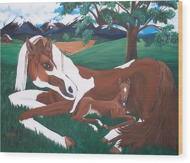 Horses Wood Print featuring the painting Davy by Tammy Dunn