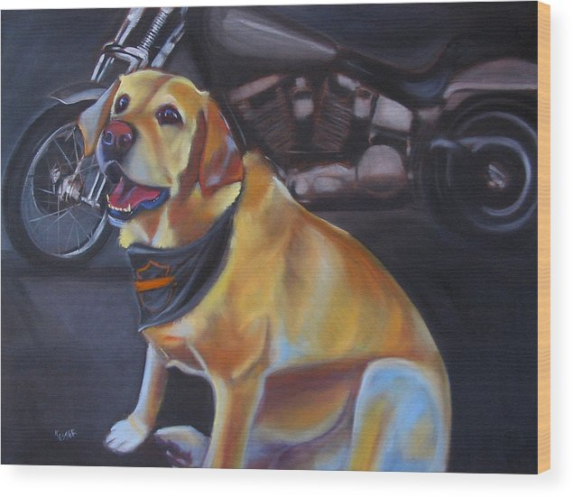Yellow Labrador Retreiver Painting Wood Print featuring the painting George And The Harley by Kaytee Esser