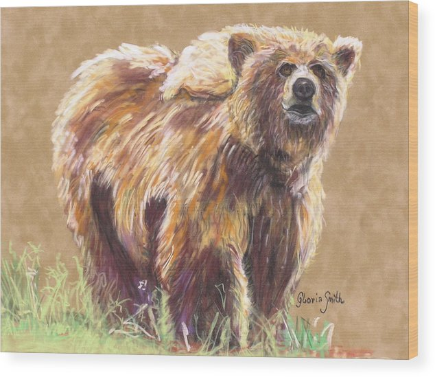 Alaskan Animal Wood Print featuring the painting Healthy Brown Bear by Gloria Smith