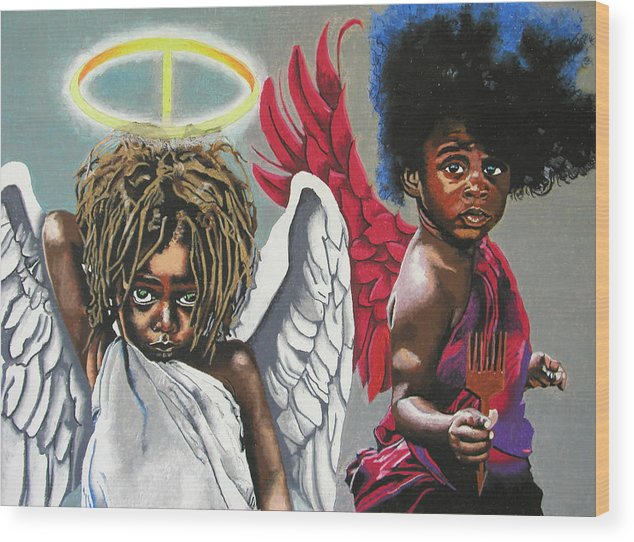 Black Art Wood Print featuring the painting Hells Little Angels by Andre Ajibade