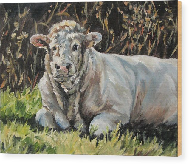 Cattle Wood Print featuring the painting Idyll Moment by Cheryl Pass