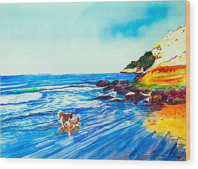 Seascape Wood Print featuring the painting In Paradise Of Dogs by Aymeric NOA