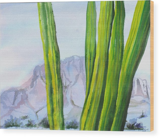 Desert Landscape Wood Print featuring the painting Morning Haze by Kathy Mitchell