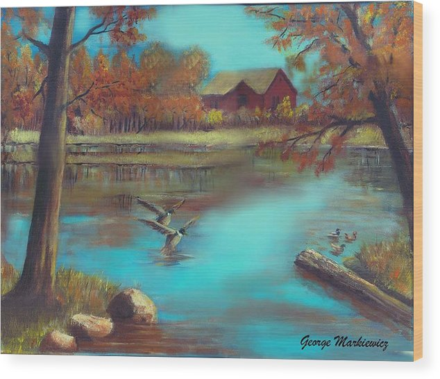 Lake Landscape Wood Print featuring the print Muskego Lake by George Markiewicz