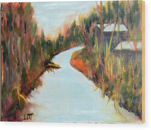 Fall Wood Print featuring the painting Old Mill by Lia Marsman