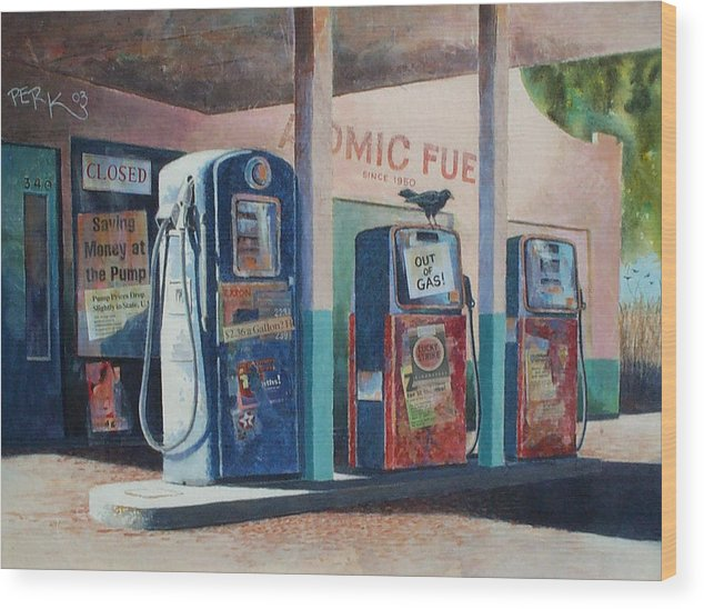Nostalgic Genre Wood Print featuring the painting Out Of Gas by Don Trout