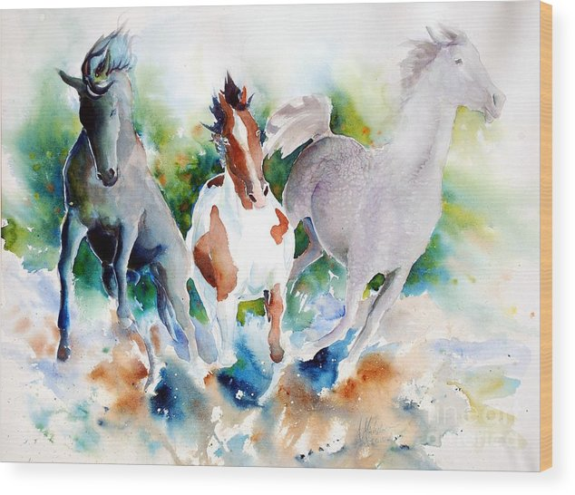 Horses Wood Print featuring the painting Out Of Nowhere by Christie Michelsen