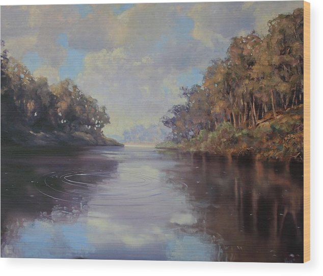 Oil On Canvas Wood Print featuring the painting River Peace by Michael Vires