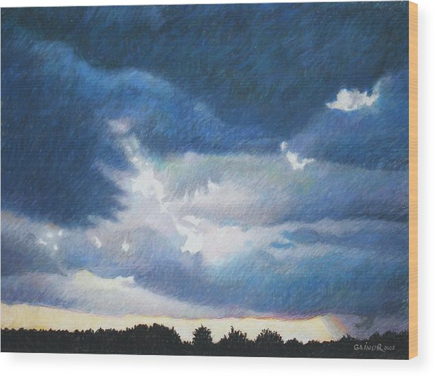 Cloudscape Wood Print featuring the painting Somewhere The Sun Is Shining by Gainor Roberts