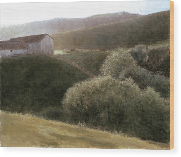 Landscape Wood Print featuring the painting Sunrise Central California by Laura Wynne