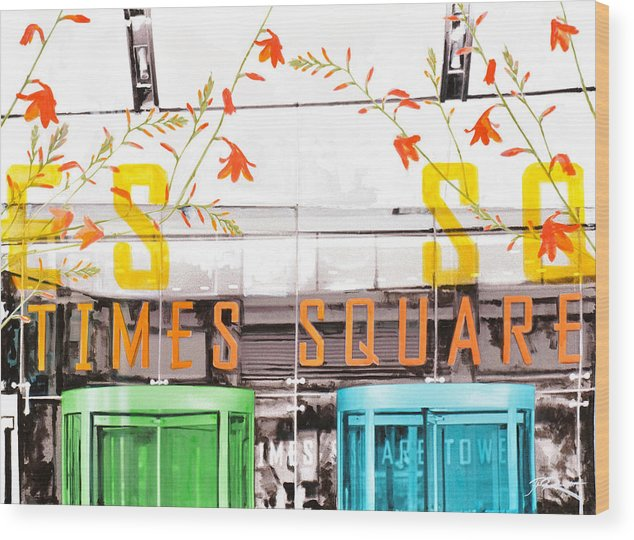 Ny Wood Print featuring the painting Times Square Tower by Jean Pierre Rousselet