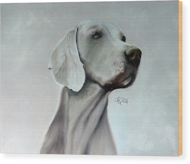 Wood Print featuring the painting Weimaraner by Dick Larsen