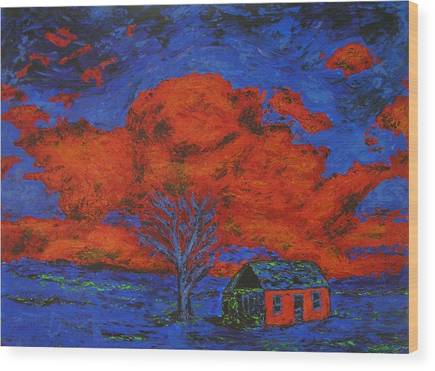 House Wood Print featuring the painting Reflections Of The Storm by Ricklene Wren