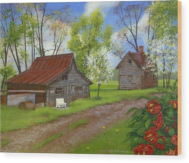 Landscape Wood Print featuring the painting The White Bench by Peter Muzyka