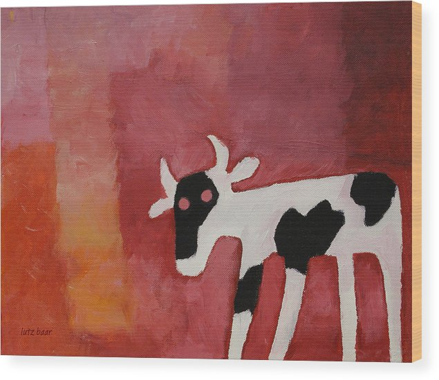 Little White Cow Wood Print featuring the painting Little White Cow by Lutz Baar