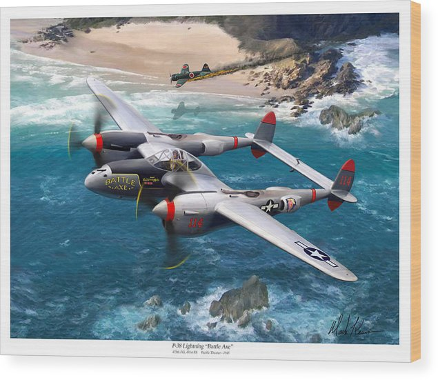 Airplanes Wood Print featuring the painting P-38 Lightning Battle Axe by Mark Karvon