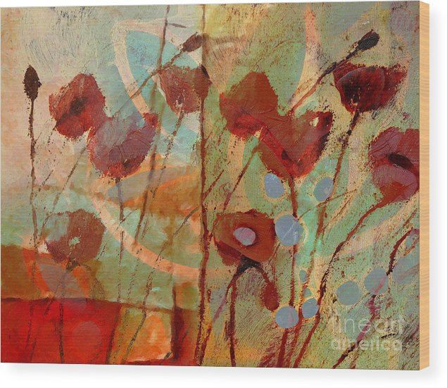 Poppies Wood Print featuring the painting Rhapsody by Lutz Baar