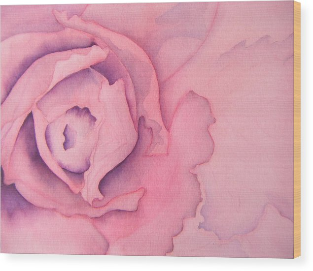 Watercolor Wood Print featuring the painting Rose Cabbage by Louise Riedell