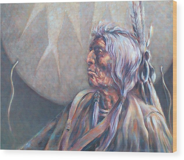 Old Indian Wood Print featuring the painting I Was Young Once by Don Trout
