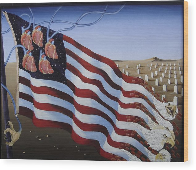 Flag Wood Print featuring the painting America by Sandra Scheetz-Wise