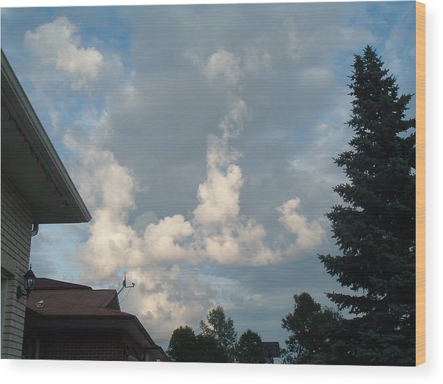 Clouds Wood Print featuring the photograph Atmospheric Barcode 19 7 2008 20 by Donald Burroughs